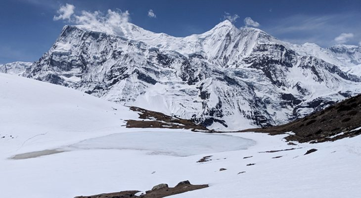 Ice lake day trip offers breathtaking view of the Annapurna mountain range in March/April season.