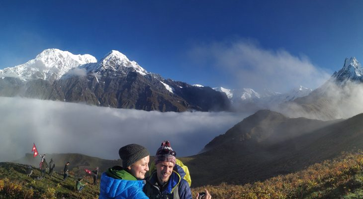 Mountain panorama capturing from high camp viewpoint en route to Mardi himal trek