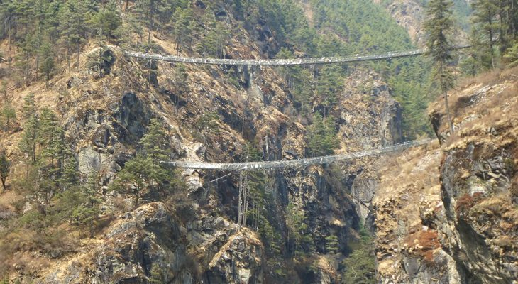 Crossing Hillary Bridge en route of Everest Gokyo Lake Trek