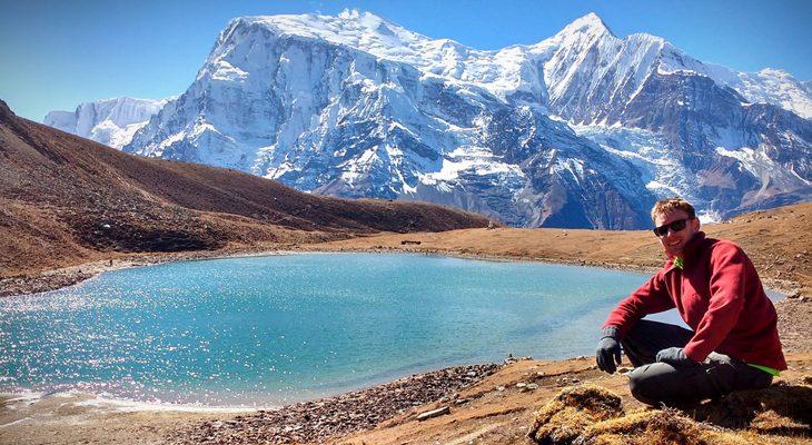 Ice Lake and Annapurna Mountain Range on the Ice Lake and Tilicho Lake Trek