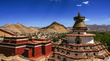 Gyantse Kumbum, a colorful Buddhist chapel which is highlights of Kathmandu Everest Base Camp Lhasa Tour.