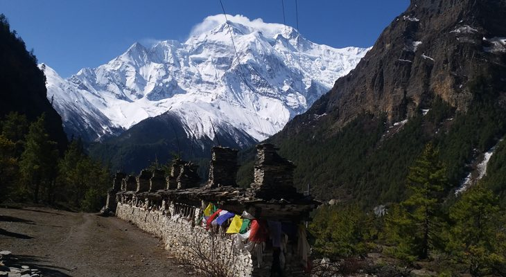 Traditional Buddhist Mani wall on Ice Lake and Tilicho lake trek