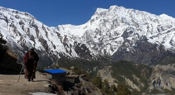 Annapurna circuit trek, exposing culture and superb landscapes diverse on foot of Annapurna mountains with crossing Thorong La Pass.