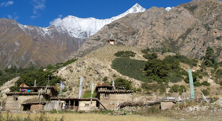the mountainous village foot of the mountains in Dolpo trek