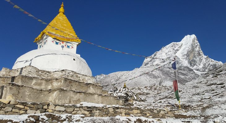 Everest base camp trek embellish by Buddhist flavor and snowcapped high mountains
