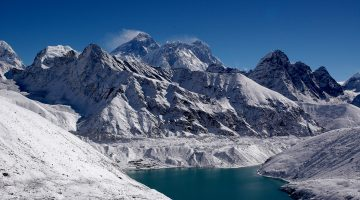 Graceful view of mountain, turquoise and glacier from Gokyo Ri on Gokyo Lake Trek