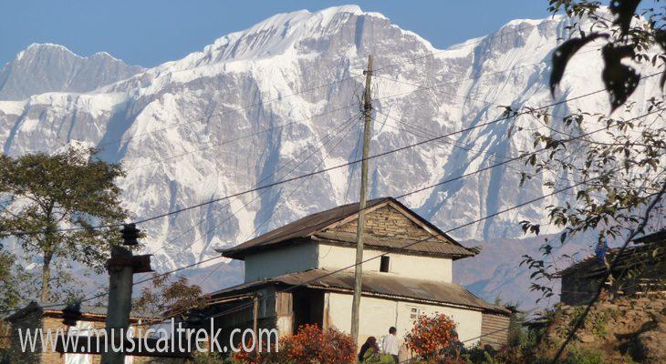 Massive view of Lamjung Himal from Ghale Gaun Village on along the Gurung Heritage Trail Trek