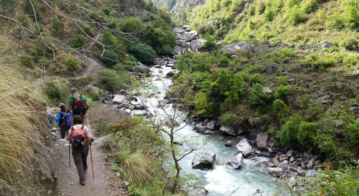 Trek throughout cultivate landscapes and along of glacier melted river