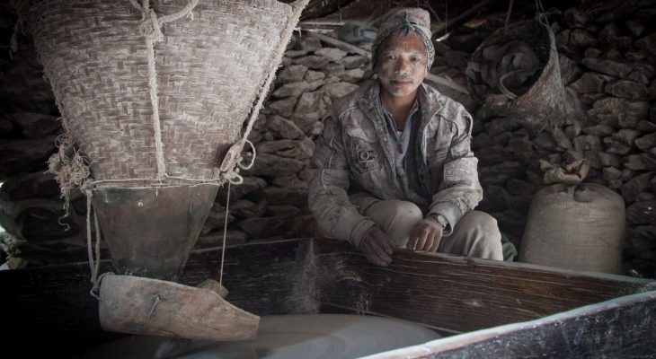 Grind the grain in water mill, Labughat en route of Indigenous people trail