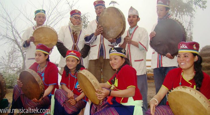 A tamang people showing cultural program in Doramba village en route of Indigenous people trail