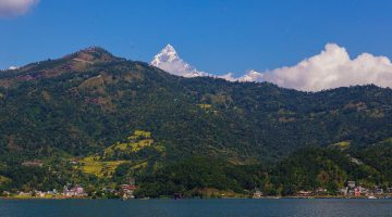 Breathtaking view of Mt. Machhapuchhare with phewa lake in lakeside Pokhara