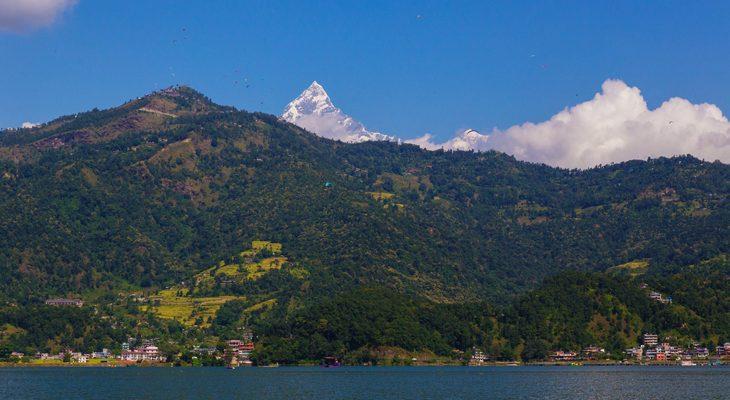 Breathtaking view of Mt. Machhapuchhare with phewa lake in lakeside Pokhara