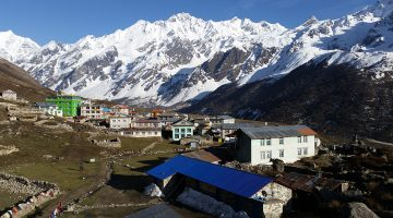 Kyanjin Gompa village on laps of the Himalayas on the Langtang Gosainkunda Lake Trek.