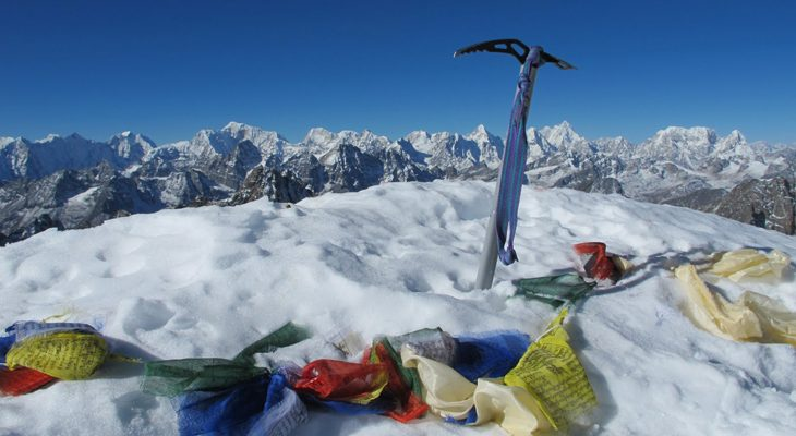 The dramatically Himalayas view offer from Lobuche peak crest