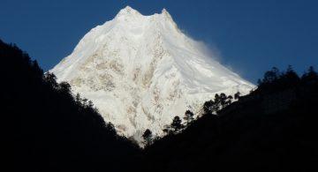 Giant Mount Manaslu seen from Lho village