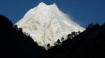 Giant Mount Manaslu seen from Lho village