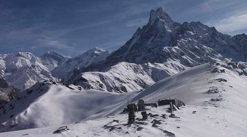During the winter Mardi himal route covered by snow