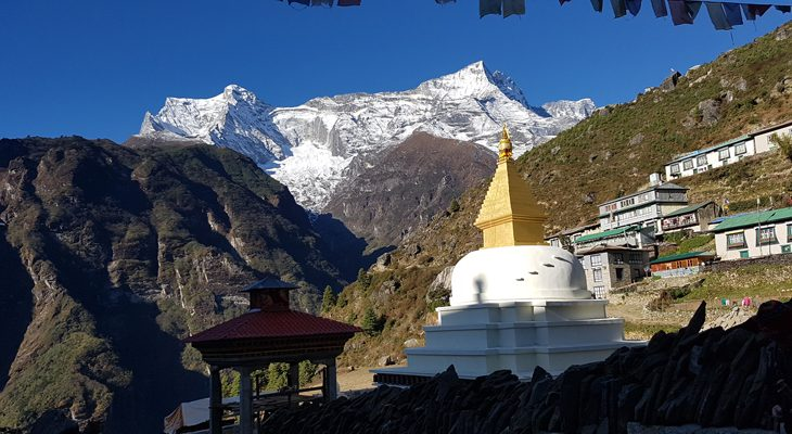 Namche Bazar- entrance of Everest trekking and the commercial village is surrounding by plus 6000 m snow peak.