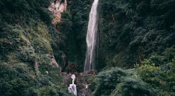 Thundering water fall passes along the Short Nar Phu valley trekking