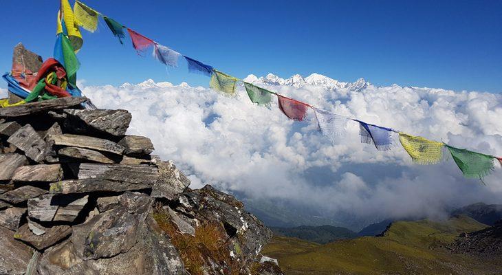 Panoramic mountain view en route of Langtang Gosaikunda lake trek