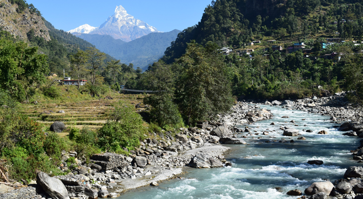 The stream from Annapurna base camp on Poon Hill Ghandruk Trek