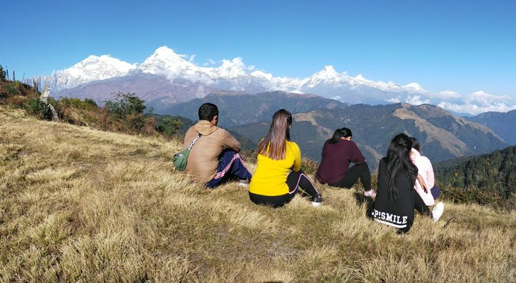 Breathtaking mountain panorama of Annapurna range on the Mohare Danda Trek