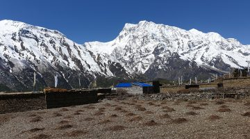 Annapurna mountain range view from ngawal village