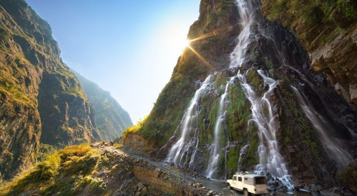 Stunning Chyamje water fall on the Manang Jeep Tour