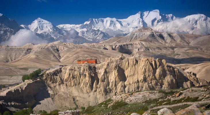 Mountain and monastery in upper mustang