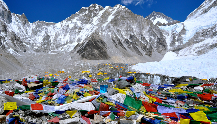 The Everest base camp occupied by colorful tented camp during the April and May.