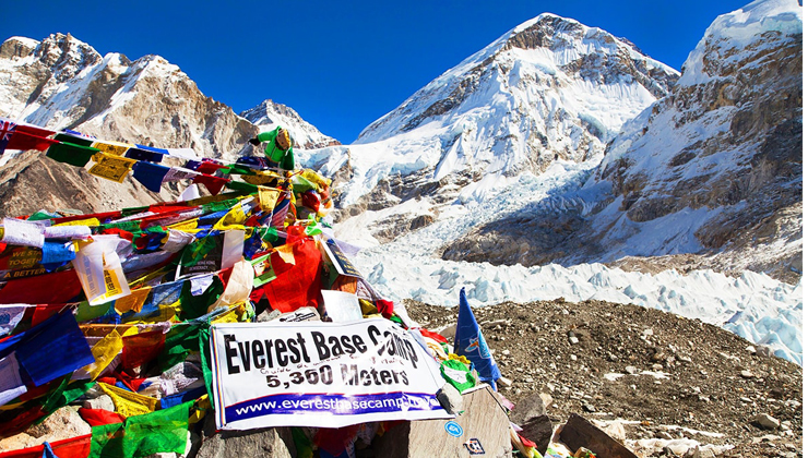Mount Everest base camp in Nepal, reaching with 3 hours trekking from nearest guest house, Gorakshep.