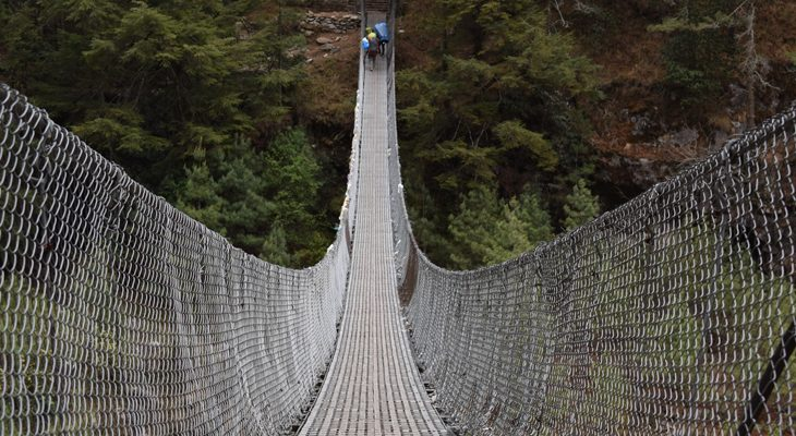 The tallest Hillary Bridge en route of EBC trek