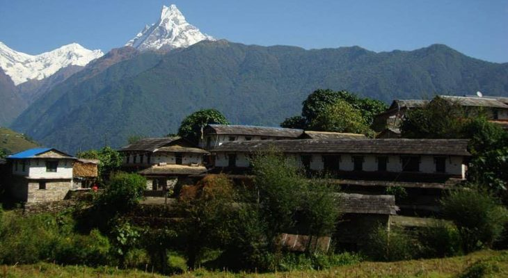 Cultural Nepalese villages and holy mountain fishtail en route of Annapurna base camp trek