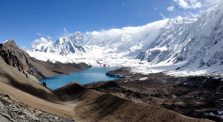 Turquoise Tilicho Lake image capture from Mesokanto La Pass with Tilicho Peak