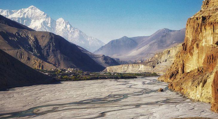 Walking on the deepest Gali Gandaki gorge on the short upper mustang trekking