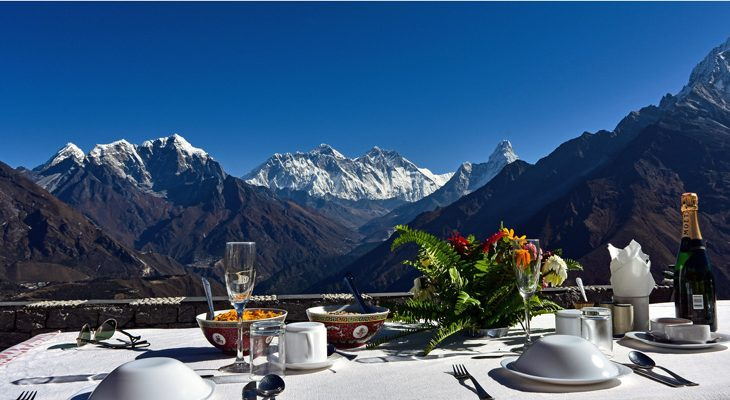 Breathtaking Himalayas of Mount Everest, Lhotse, Ama Dablam and Taboche seen from Kongde view Hotel.