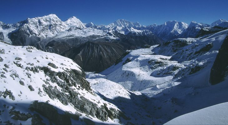 Breathtaking mountain view capture while challenging crossing the Ganja la pass on the Langtang valley Ganjala pass trek