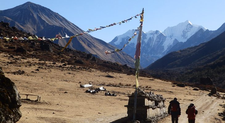 Trailhead to Kyanjin/Kyangin Gompa seen Tsergo Ri on right and Mount Ganchenpo in the left on the Short Langtang valley trek.