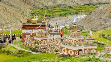 Elaborate Buddhist monastery at Dho Tarap village in Phoksundo lake lower dolpo trek