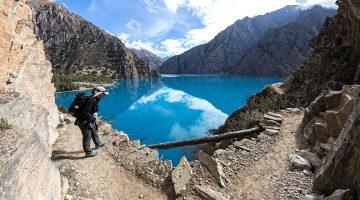 Gorgeous view of the turquoise color shey phoksundo lake