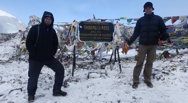 Thorong la pass (5,416 m) summit, ultimate altitude and destination of classical Annapurna circuit trek.