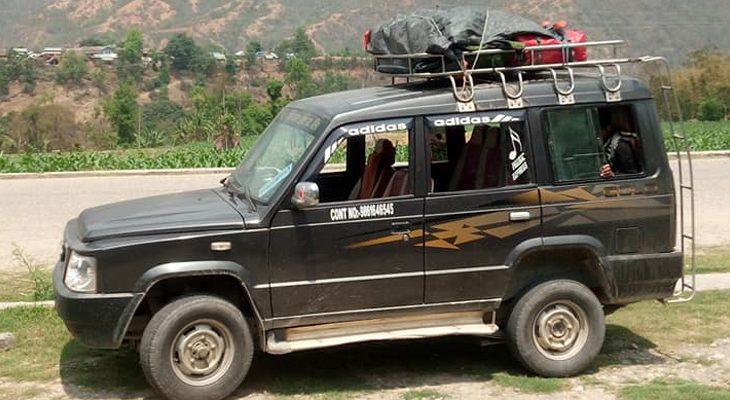 Kathmandu to Khari Khola by shared and private jeep for the Everest base camp trek.
