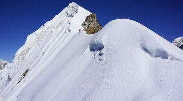 Short Lobuche peak climb, a vertical path approaching to summit of Lobuche peak