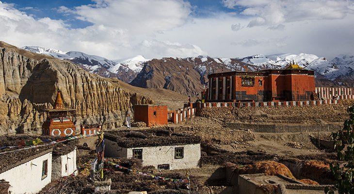 Colorful Tsarang/Charang monastery and Charang village in Upper Mustang Circuit trek