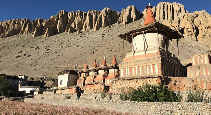 Picturesque sights of ancient Buddhist chhorten on the Upper Mustang Circuit Trek.