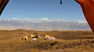 Tented camp at yak pasture, Pa on way to Lo-manthang in Upper Mustang Circuit Trek.